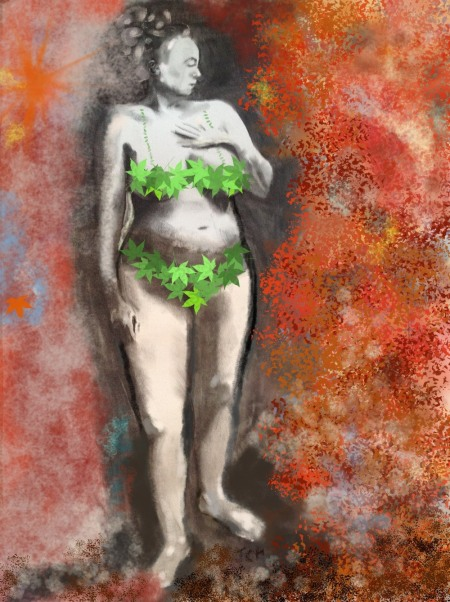Big Nude in a Leaf Bikini - charcoal with computer paint